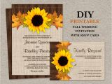 Fall Wedding Invitations and Rsvp Cards Fall Sunflower Wedding Invitations with Rsvp Cards Diy