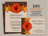 Fall Wedding Invitations and Rsvp Cards Items Similar to Diy Fall Wedding Invitations with Rsvp