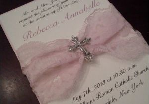 Fancy Baptism Invitations Munion Baptism Sale Fancy White and Pink 5×7 Munion