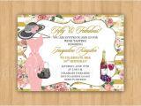 Fancy Hat Bridal Shower Invitations Wine Tasting Fancy Hat Dress Birthday Bridal Shower