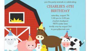Farm Animal Birthday Invitation Template Farm Animals Birthday Party Invitation Zazzle