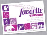 Favorite Things Birthday Party Invitation Favorite Things Birthday Party Invitation Custom Printable