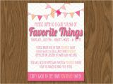 Favorite Things Birthday Party Invitation Favorite Things Party Invite 5×7 Print Yourself or by Room1117