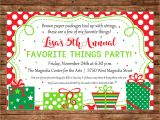 Favorite Things Christmas Party Invitation Christmas Invitation Favorite Things Dirty Santa Gift