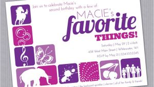 Favorite Things Party Invitation Favorite Things Birthday Party Invitation Custom Printable