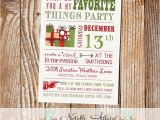 Favorite Things Party Invitation Modern My Favorite Things Party Invitation On Brown Linen