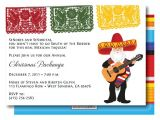 Fiesta Christmas Party Invitations Papel Picado Mariachi Santa In Zarape Christmas Holiday