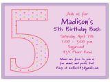 Fifth Birthday Party Invitation Wording 5th Birthday Girl Dots Birthday Invitations Paperstyle