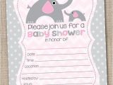 Fill In the Blank Baby Shower Invitations Fill In the Blank Pink Girls Elephant Baby Shower
