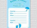 Fillable Baby Shower Invitations Footprints Baby Shower Invitation Card Fill In Blue