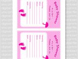 Fillable Baby Shower Invitations Footprints Baby Shower Invitation Card Fill In Pink