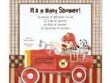 Fire Truck Baby Shower Invitations sock Monkey Fire Truck Boy Baby Shower Invitation