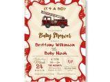Firefighter themed Baby Shower Invitations Fire Truck Baby Shower Invitation Rustic Vintage Baby Boy