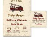 Firefighter themed Baby Shower Invitations Fire Truck Baby Shower Invitation Rustic Vintage by 800canvas