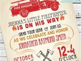 Firefighter themed Baby Shower Invitations Vintage Firefighter Baby Shower Invitation by