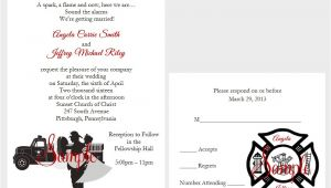 Firefighter themed Wedding Invitations 50 Personalized Custom Firefighter Couple Fireman Truck