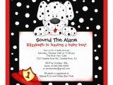Fireman Baby Shower Invitations Dalmatian Fireman Boy Baby Shower Invitation 13 Cm X 13 Cm