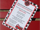 Fireman Baby Shower Invitations Fire Truck themed Baby Shower Invitation