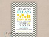 First Birthday Brunch Invitations Bubbles and Bottles Chevron Happy Hour Baby 39 S First