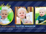 First Birthday Invitation Frames One Collage Boy 4×8 Photo Card Birthday Invitations
