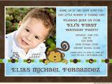 First Birthday Invitations Boy Wording Monkey Boy Birthday Party Invitation 1st Banana Dots