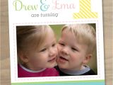 First Birthday Invitations for Twins Baby Girl and Boy Twins First 1st Birthday Invitation