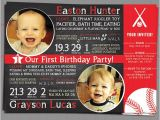 First Birthday Invitations for Twins Items Similar to Twin Boys First Birthday Party Invitation