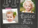 First Birthday Invitations for Twins Twice as Fun Twin Birthday Invitation