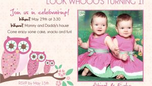 First Birthday Invitations for Twins Twins 1st Birthday Invitation You Print