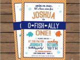Fish themed Birthday Party Invitations Quot O Fish Ally Quot One Birthday Party Invitation Fish theme