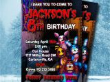 Five Nights at Freddy S Birthday Invitations Five Nights at Freddy S Invitation 5 Nights at by
