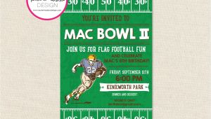 Flag Football Party Invitations Football Birthday Invitation Football Birthday Flag Football