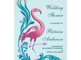 Flamingo Bridal Shower Invitations Pink Flamingo Teal Swirls Wedding Bridal Shower 5×7 Paper
