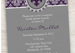 Fleur De Lis Bridal Shower Invitations 5×7 Fleur De Lis and Damask Bridal Shower Invitation by