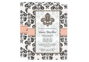 Fleur De Lis Bridal Shower Invitations Coral Peach Fleur De Lis Bridal Shower Invitations Zazzle