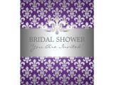 Fleur De Lis Bridal Shower Invitations Elegant Bridal Shower Fleur De Lis Purple Card Zazzle Com