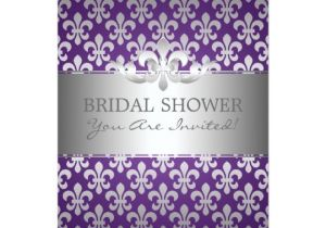 Fleur De Lis Bridal Shower Invitations Elegant Bridal Shower Fleur De Lis Purple Card Zazzle Com