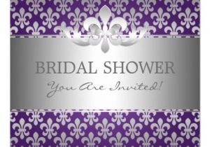 Fleur De Lis Bridal Shower Invitations Elegant Bridal Shower Fleur De Lis Purple Invitations Zazzle