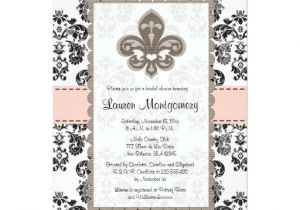 Fleur De Lis Bridal Shower Invitations Fleur De Lis Bridal Shower Invitations Pink Black Zazzle
