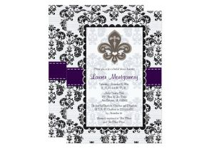 Fleur De Lis Bridal Shower Invitations Fleur De Lis Bridal Shower Invitations Plum Black Zazzle