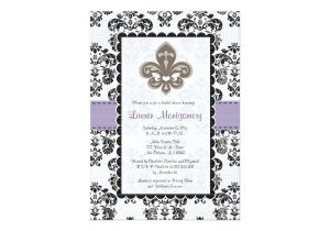 Fleur De Lis Bridal Shower Invitations Fleur De Lis Bridal Shower Invitations Purple Gold Zazzle