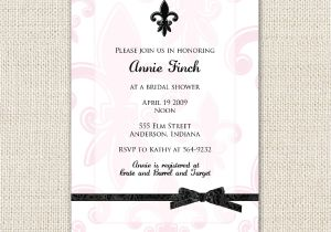 Fleur De Lis Bridal Shower Invitations Pink and Black Fleur De Lis Bridal Shower Invitation