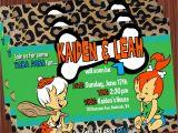 Flintstones Baby Shower Invitations Pebbles and Bamm Bamm Invitation