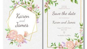 Floral Wedding Invitation Templates Vector Free Floral Wedding Invitation Template with Golden Frame