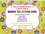 Flower themed Birthday Party Invitation Wording Retro Flower Power 70s Birthday Party Invitations