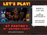 Fnaf Party Invitations Five Night 39 S at Freddy 39 S Invitation Fnaf by Rootdown On Etsy