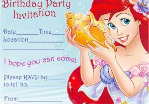 Free Ariel Birthday Invitations Printable Ariel Printable Birthday Party Invitation