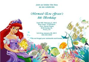Free Ariel Birthday Invitations Printable the Little Mermaid Birthday Invitations Free Printable