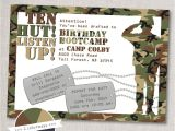 Free Army Birthday Party Invitation Template Bootcamp Birthday Army Party Invitation Printable Digital