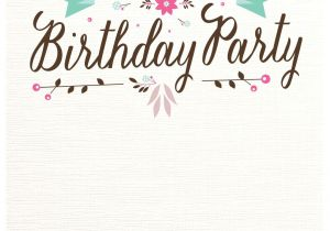Free Birthday Invitation Templates with Photo Flat Floral Free Printable Birthday Invitation Template